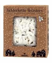 Feest witte houten sterren lichtsnoeren met timer functie op batterijen 120 cm