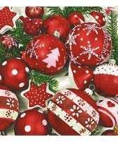 Feest witte servetten met kerstballen 20 stuks