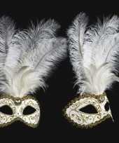 Feest witte veren oogmasker handgemaakt