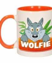 Feest wolven theebeker oranje wit wolfie 300 ml
