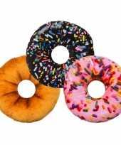 Feest woonaccessoire donut kussen roze 30 cm