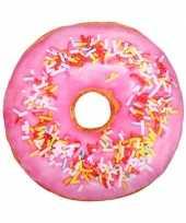 Feest woonaccessoire licht roze donut kussen 40 cm