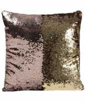 Feest woonkussen met pailletten rose goud 40 cm