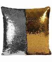 Feest woonkussen met pailletten zilver goud 40 cm