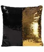 Feest woonkussen met pailletten zwart goud 40 cm