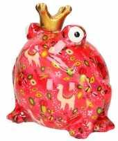 Feest xl spaarpot roze kikker roze met lama 28 cm