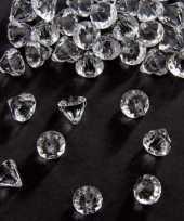 Feest zakje van 54 gram deco diamantjes transparant 12 mm