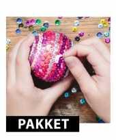 Feest zelf kerstballen maken met pailletten 10 cm