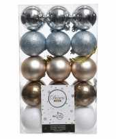 Feest zilver bruin witte kerstversiering kerstballenset kunststof 6 cm