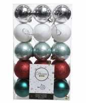 Feest zilver groen rode kerstversiering kerstballenset kunststof 6 cm