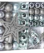 Feest zilver ijsblauwe kerstversiering kerstballen set 45 delig