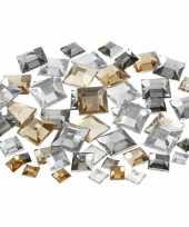 Feest zilveren diamanten stenen vierkant