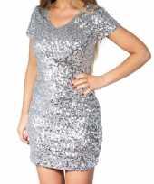 Feest zilveren glitter pailletten disco jurkje dames