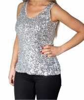 Feest zilveren glitter pailletten disco topje mouwloos shirt dames