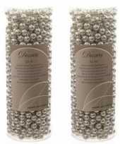 Feest zilveren kralenslinger kerstslinger 10 mtr 2 stuks