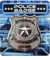 Feest zilveren politie badge verkleed accessoire