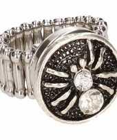 Feest zilveren spin chunk ring voor volwassenen