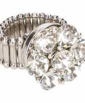Feest zilveren steentjes chunk ring voor volwassenen