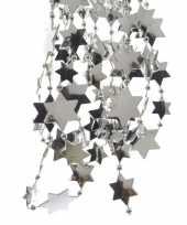 Feest zilveren sterren kralenslinger kerstslinger 270 cm