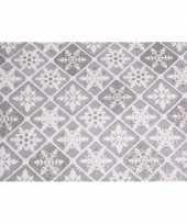 Feest zilveren stof met glitters 30 x 270 cm ruit patroon