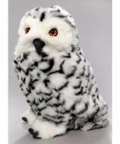 Feest zittende pluche knuffel sneeuwuil 30 cm