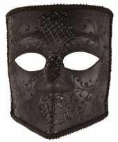Feest zwart bauta masker voor heren
