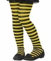 Feest zwart gele verkleed panty voor kinderen