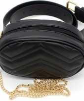 Feest zwart gestikt heuptasje schoudertasje 19 cm voor meisjes dames