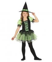 Feest zwart groen heksen kostuum voor meisjes