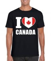 Feest zwart i love canada fan shirt heren