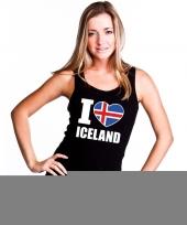 Feest zwart i love ijsland fan singlet-shirt tanktop dames