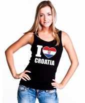 Feest zwart i love kroatie fan singlet-shirt tanktop dames