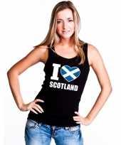 Feest zwart i love schotland fan singlet-shirt tanktop dames