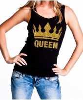 Feest zwart koningsdag queen tanktop met gouden glitters dames