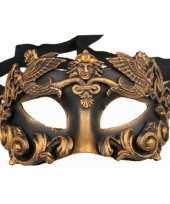 Feest zwart met brons oogmasker handgemaakt