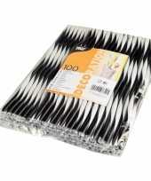 Feest zwart wit shake rietjes 100 stuks 25cm