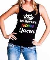 Feest zwart you know i am a fucking queen tanktop dames