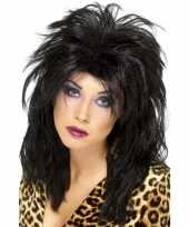 Feest zwarte 80s rockster pruik dames