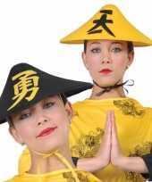 Feest zwarte aziatische verkleedhoed voor volwassenen
