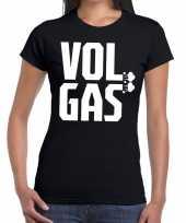 Feest zwarte cross vol gas festival t-shirt zwart dames