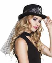 Feest zwarte hoed met glitter spin voor dames