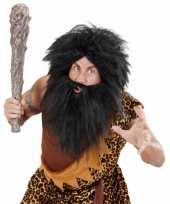 Feest zwarte holbewoner baard met snor
