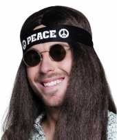 Feest zwarte peace hoofdband volwassenen
