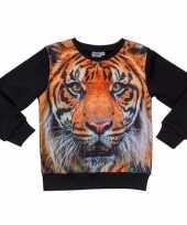 Feest zwarte sweater met tijger voor kinderen