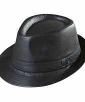 Feest zwarte trilby hoed lederlook voor volwassenen