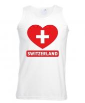 Feest zwitserland hart vlag singlet-shirt tanktop wit heren