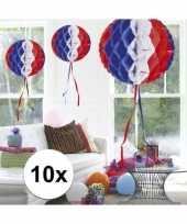 Feestversiering blauw wit rood decoratie bollen 30 cm set van 3 10121386