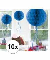 Feestversiering blauwe decoratie bollen 30 cm set van 3 10121256
