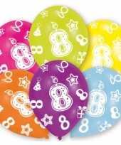 Feestversiering gekleurde ballonnen 8 jaar 6 stuks