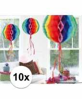 Feestversiering regenboog decoratie bollen 30 cm set van 3 10121370